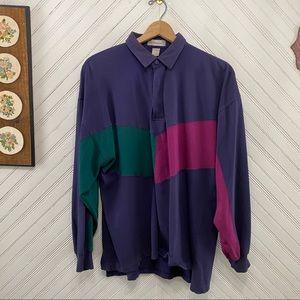 Vintage 90s Color Block Long Sleeve Shirt